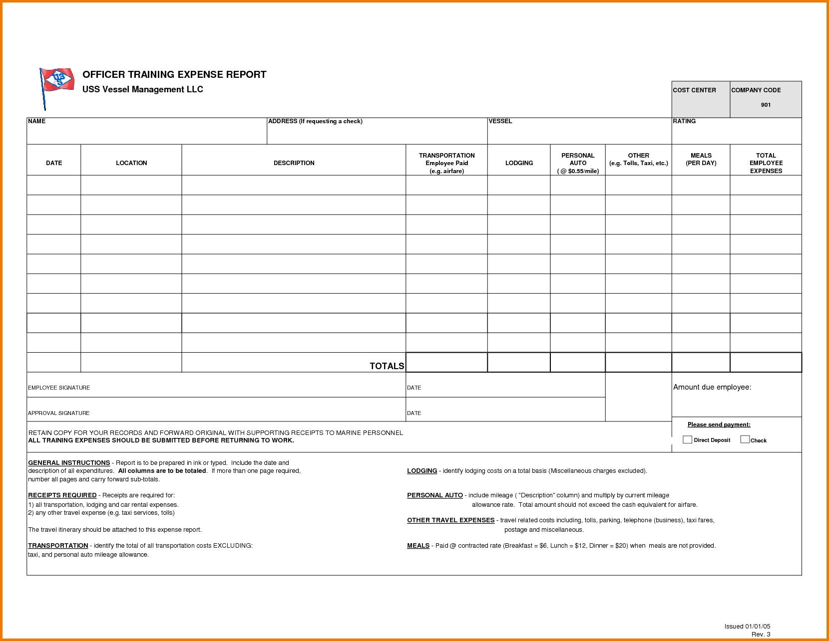 Business Expense Report Template Free and Expense Report form Expense Report