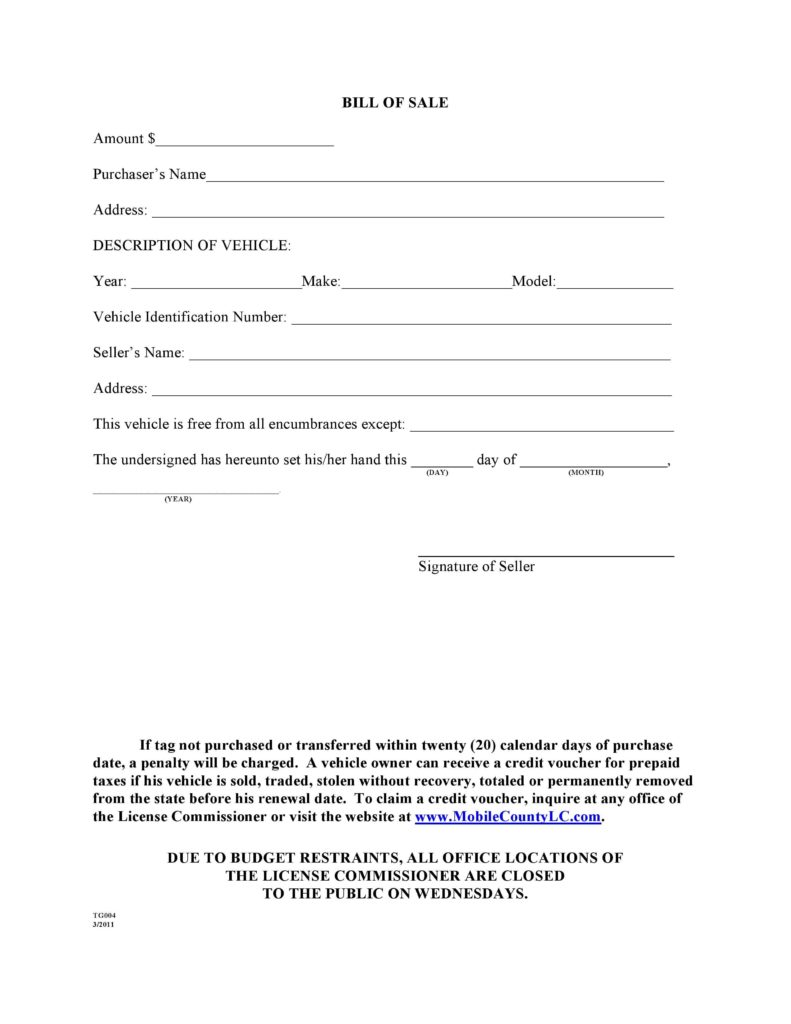 Car Bill Of Sale Template Word and Free Mobile County Alabama Motor Vehicle Bill Of Sale form Tg004