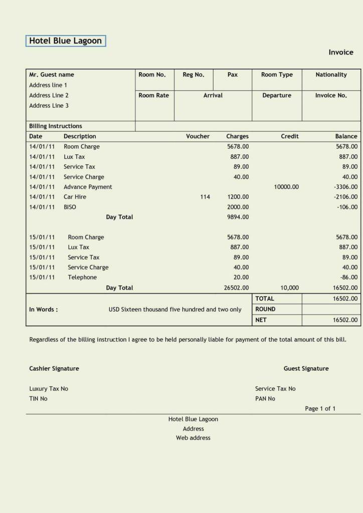 Car Repair Invoice Template Free and Invoice Hotel Pdf Rabitah