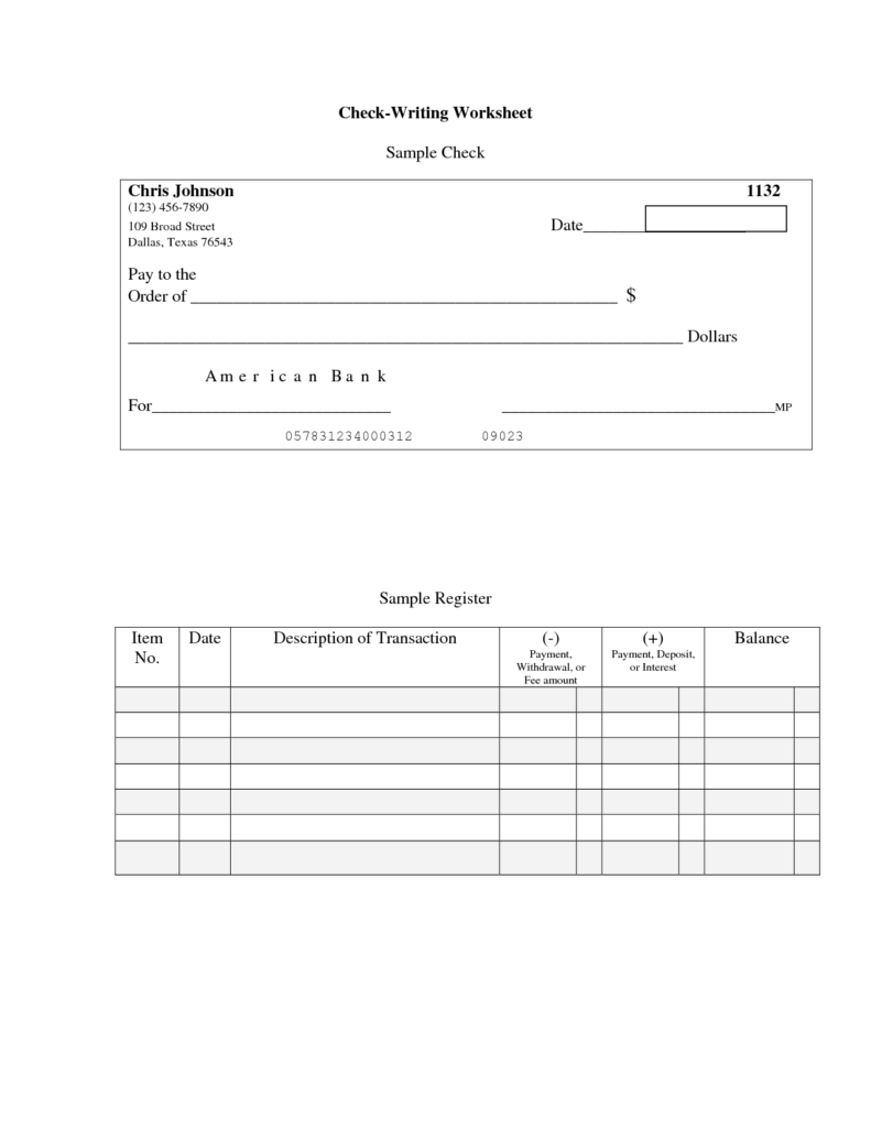 Checking Account Worksheets for Students and Write Check for Students Professional Writing Website