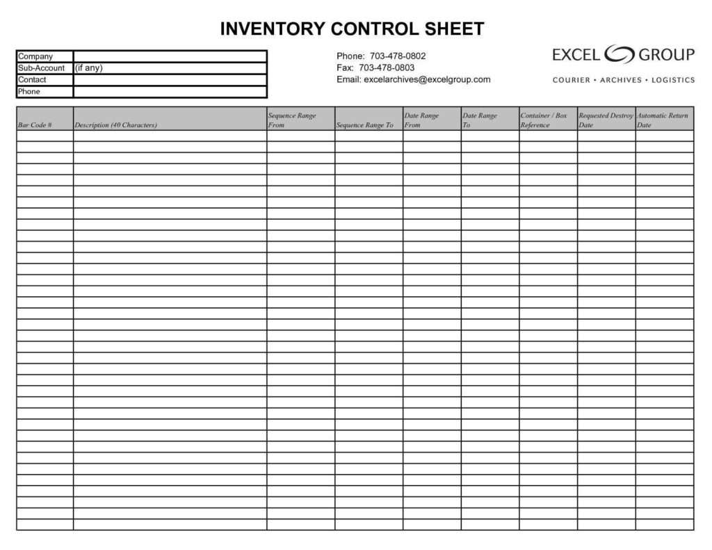 Chemical Inventory Template Excel and Stock Inventory List In Inventory Control Templates Excel Free