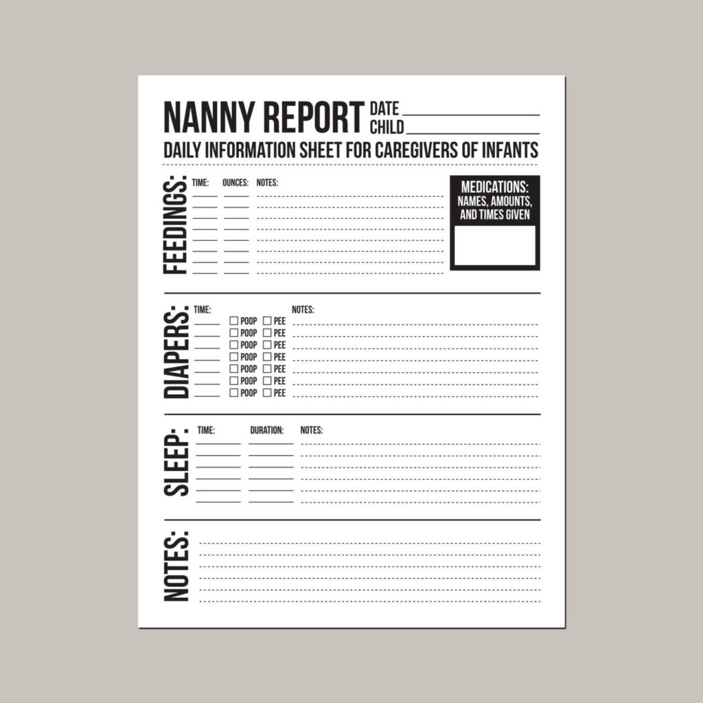 Child Care Daily Report Template and Nanny Report Daily Information Sheet for Caregivers Of General