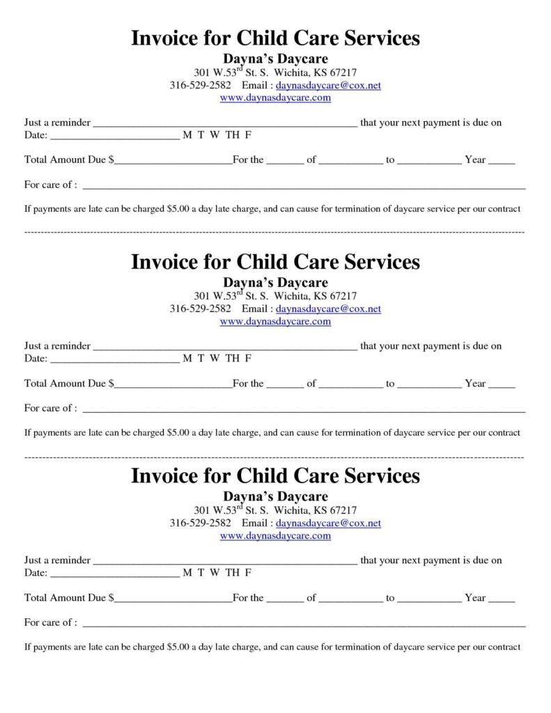 Child Care Invoice Template and Daycare Invoice Template Invoice Template Ideas