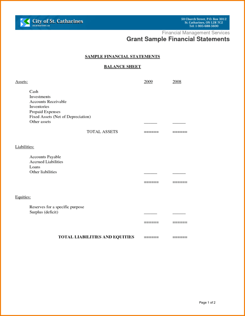 Church Balance Sheet Sample and 12 Sample Financial Statements Financial Statement form