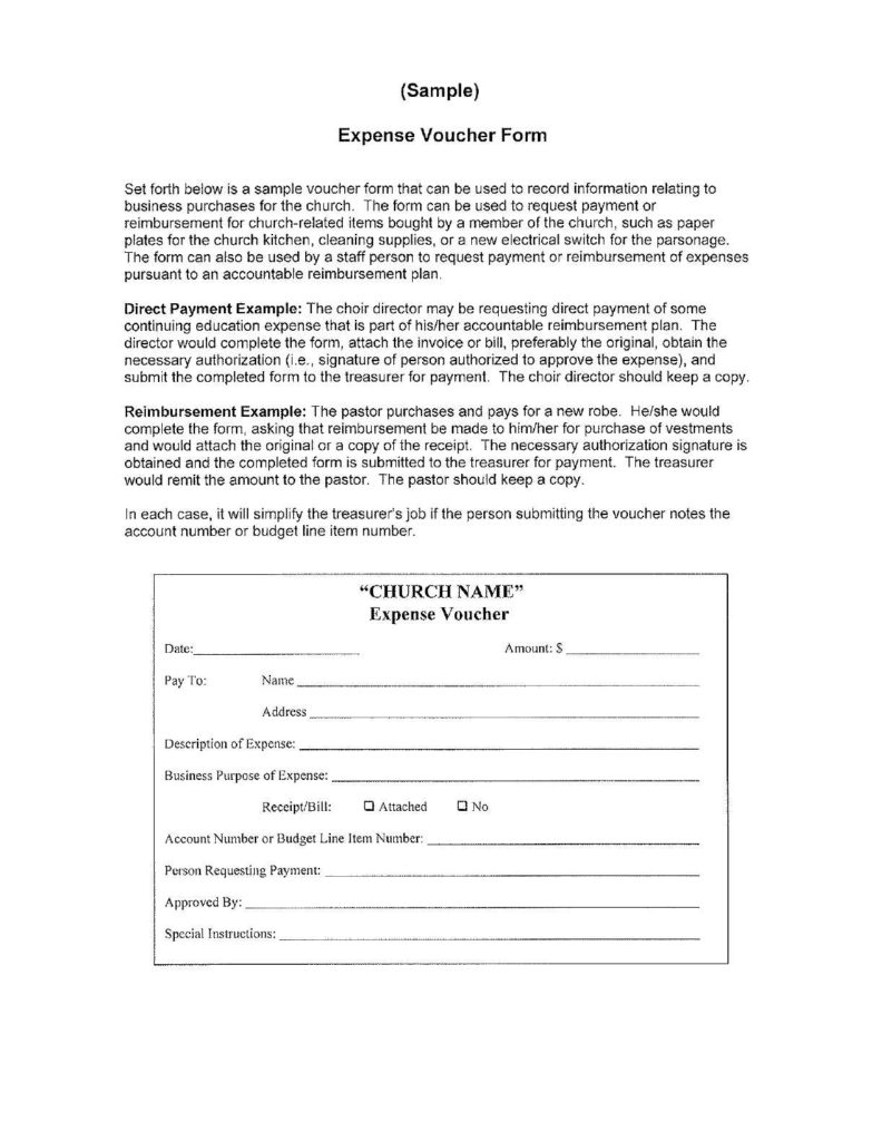 Church Expenses Template and Expense Voucher Template Customizable form Templates with Church