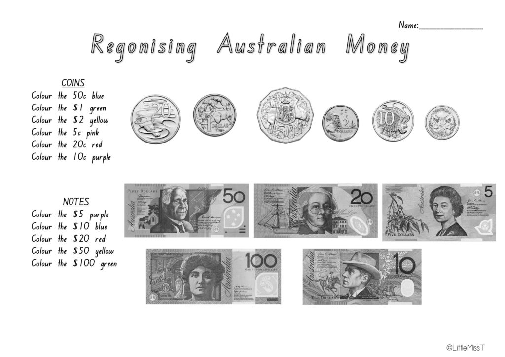 Coin Values Worksheet and Australian Money Worksheets Teach In A Box