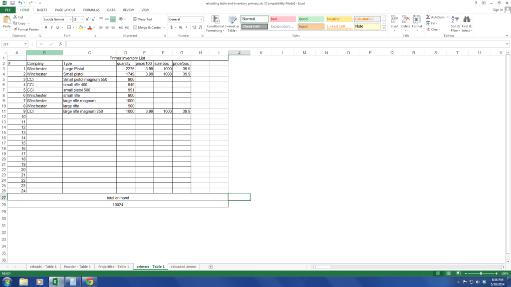 Components Of A Spreadsheet and Inventory Tracking with Excel Shooters forum
