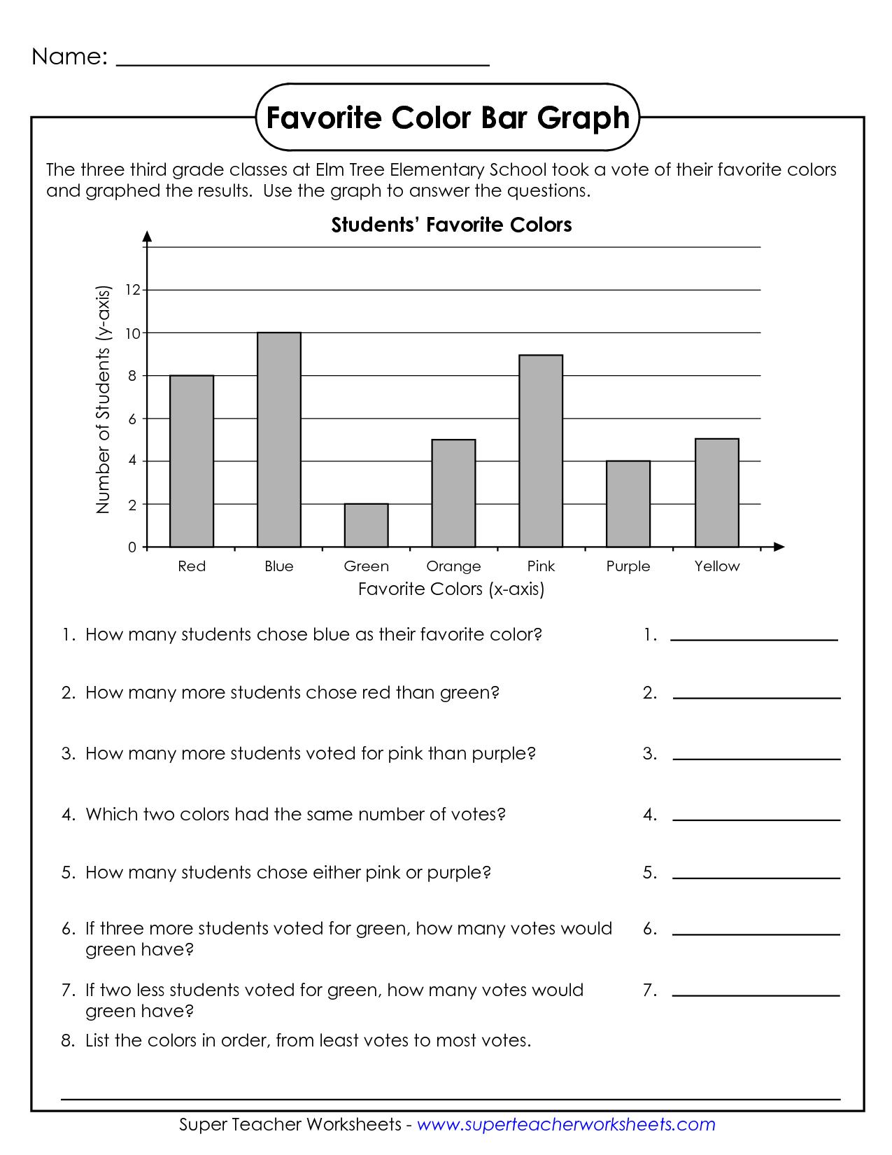 Comprehension Worksheets for Grade 1 Free and Math Worksheets for 3rd Graders Name Favorite Color Bar Graph