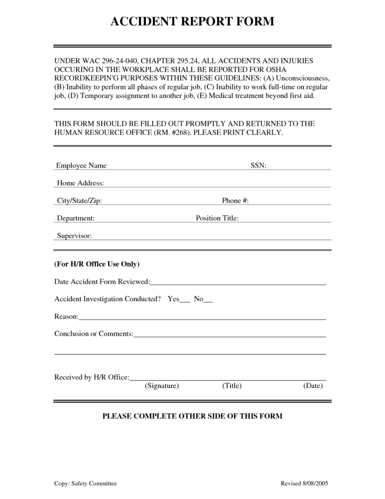 Construction Accident Report form Template and Report format Essay Resume Cv Cover Letter