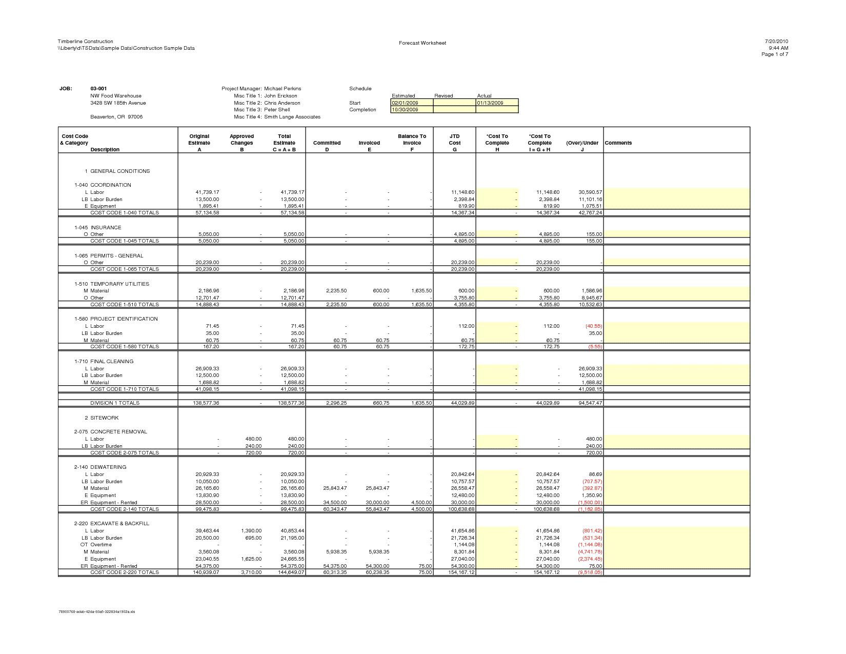 Construction Estimating Worksheets Excel and Landscaping Estimate Rolitz