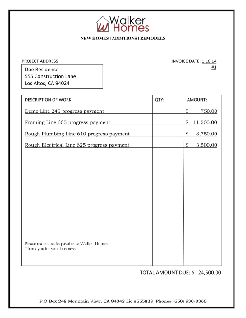 Construction Invoice Template Pdf and Sample Bid Billing Walker Homes