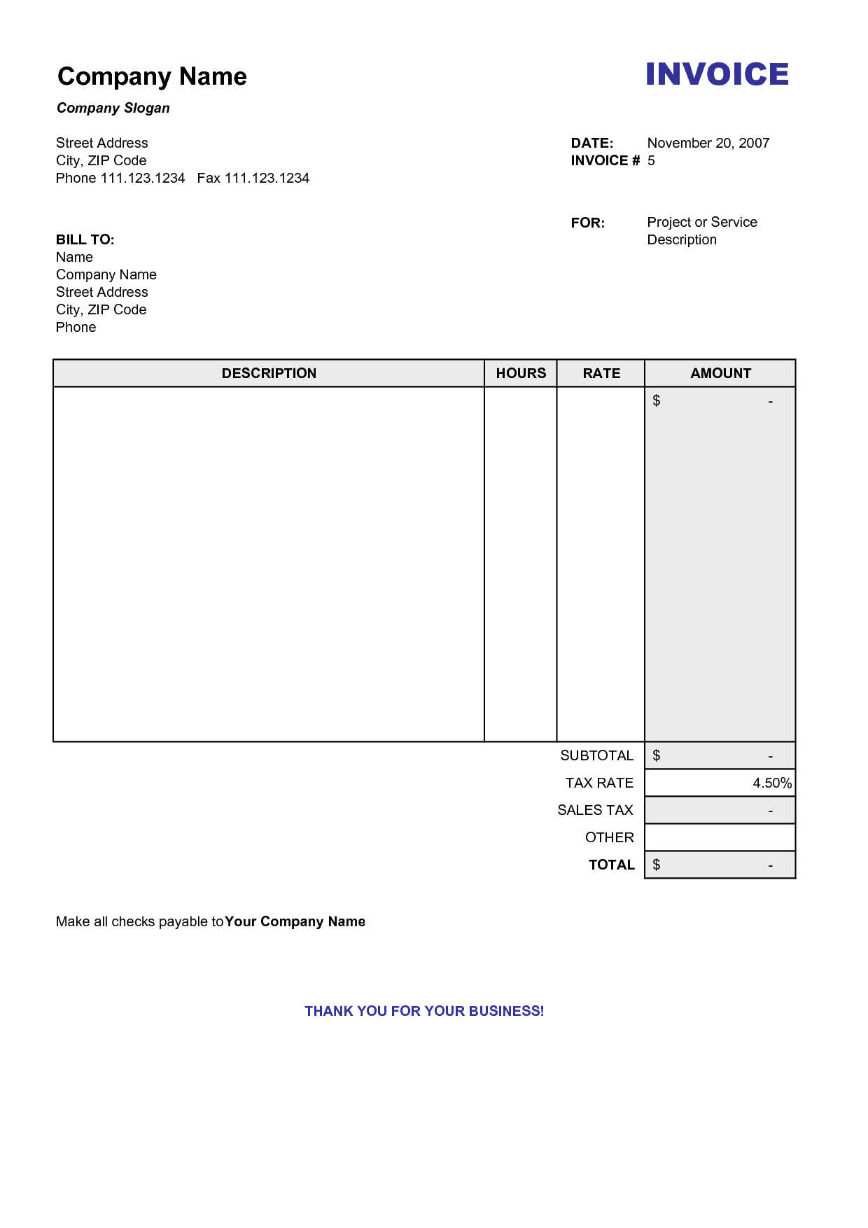 Consultant Billing Template and Printable Invoice Templates Firmsinjafo