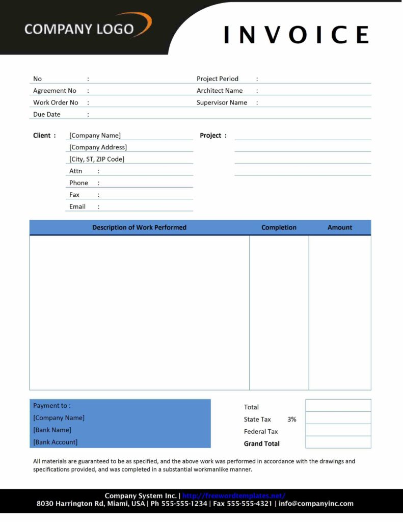Contractor Bill Template and Contractor Invoice Freewordtemplates