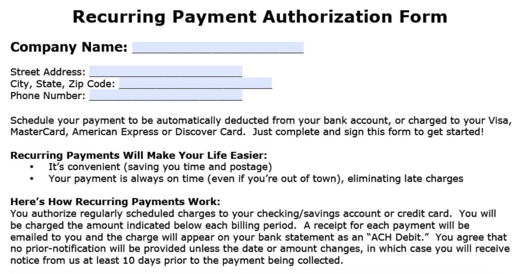 Credit Card Billing Authorization form Template and Recurring Payment Authorization form Template Credit