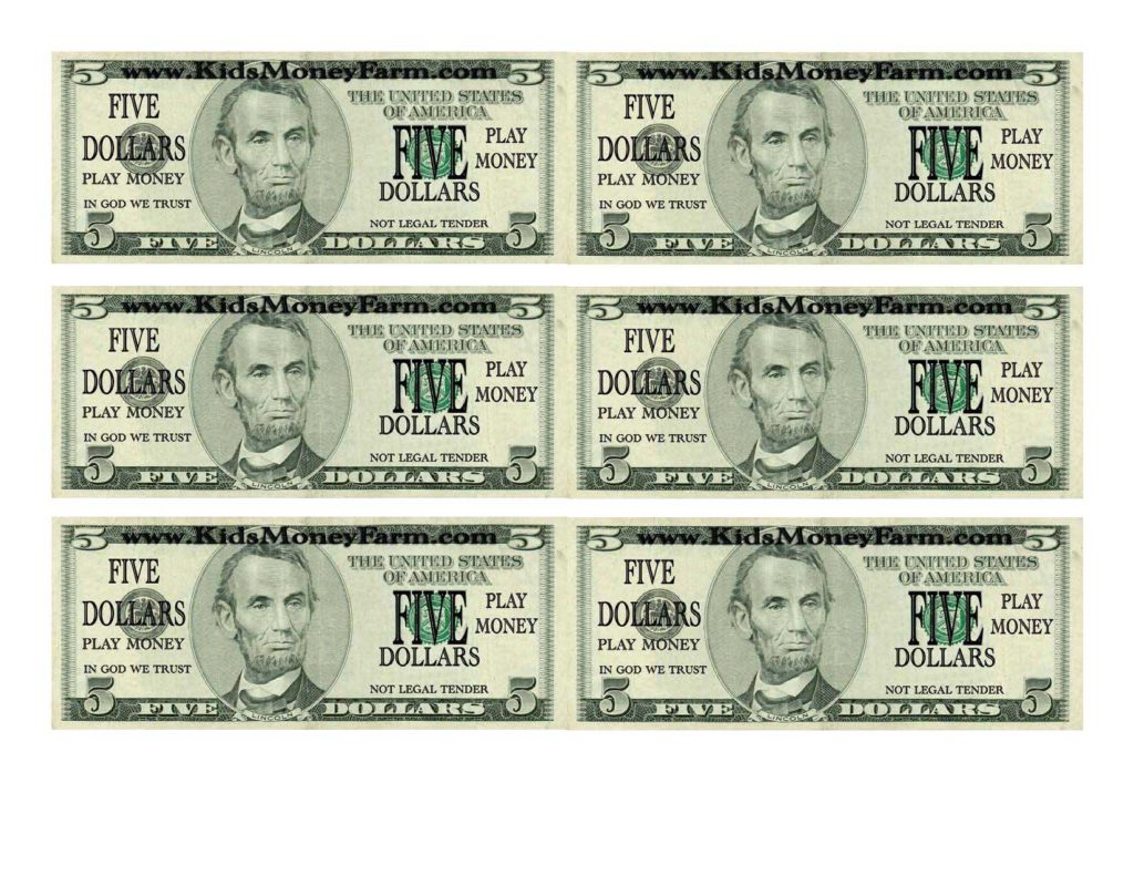 Custom Dollar Bill Template and Play Money Template Free Contegri
