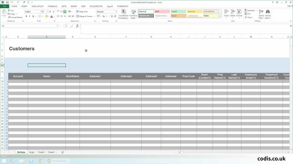 Customer Database Excel Template and Import Customers From Excel to Sage 200
