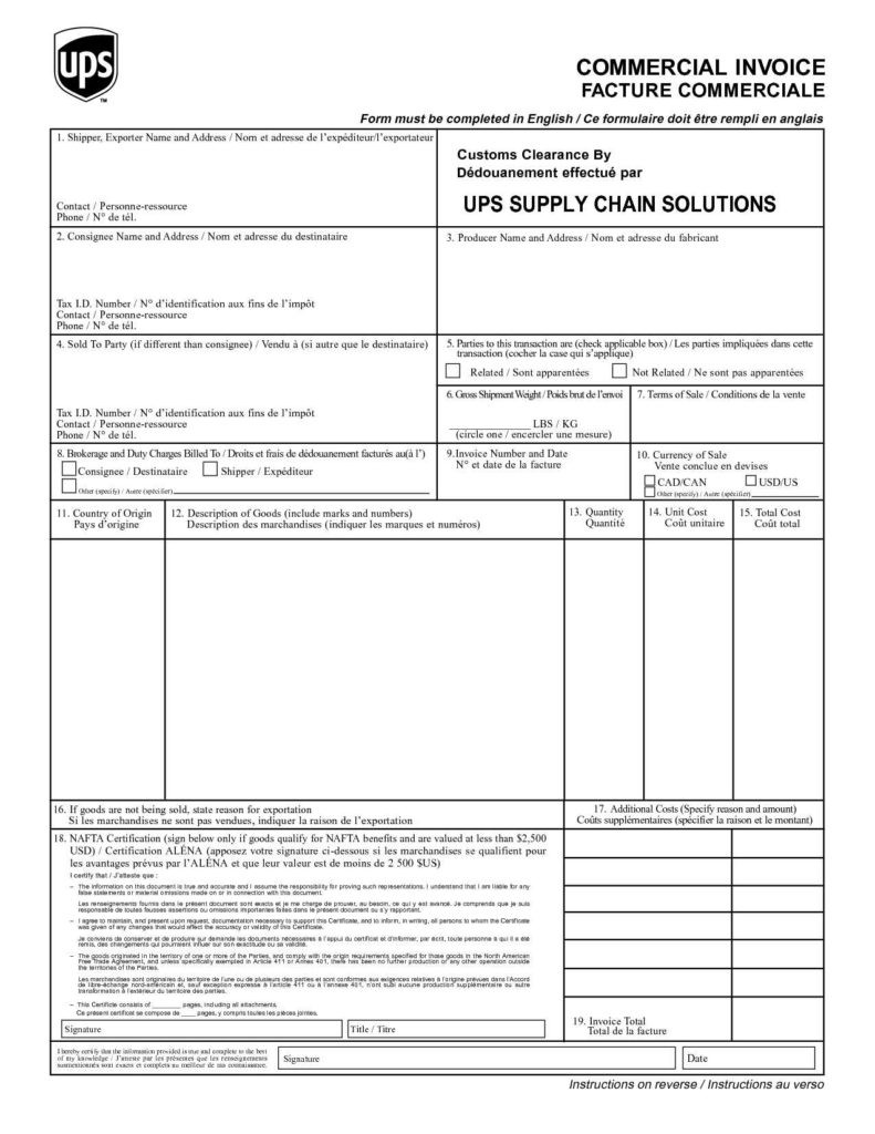 Customs Invoice Template and Ups Customs Invoice Invoice Template Ideas
