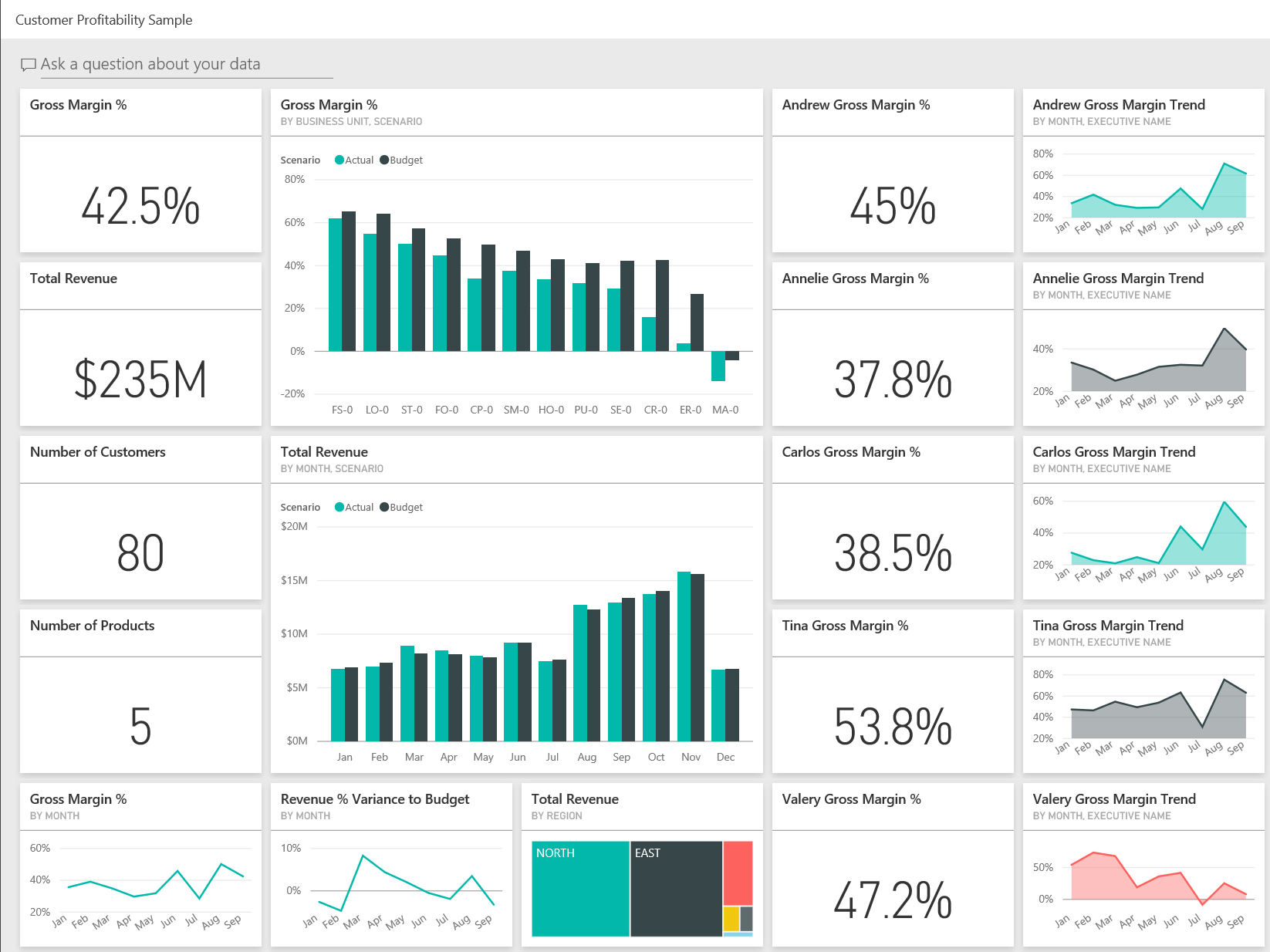 Dashboards In Excel Templates and Customer Profitability Sample for Power Bi Take A tour