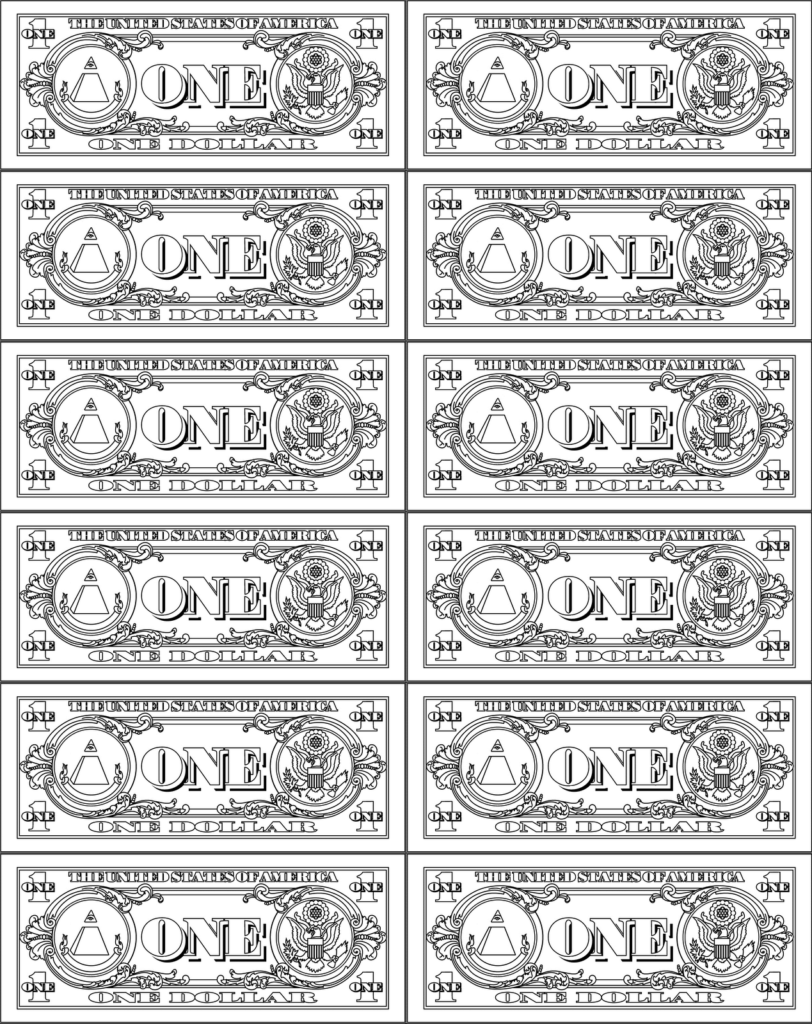 Dollar Bill Template for Teachers and Baby Doll Coloring Sheets Alltoys for