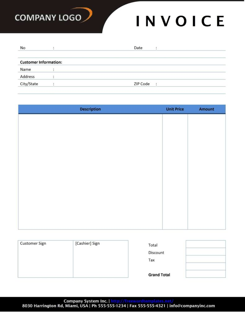 Download Free Invoice Template for Word and Blank Invoice Template 30 Documents In Word Excel Pdf