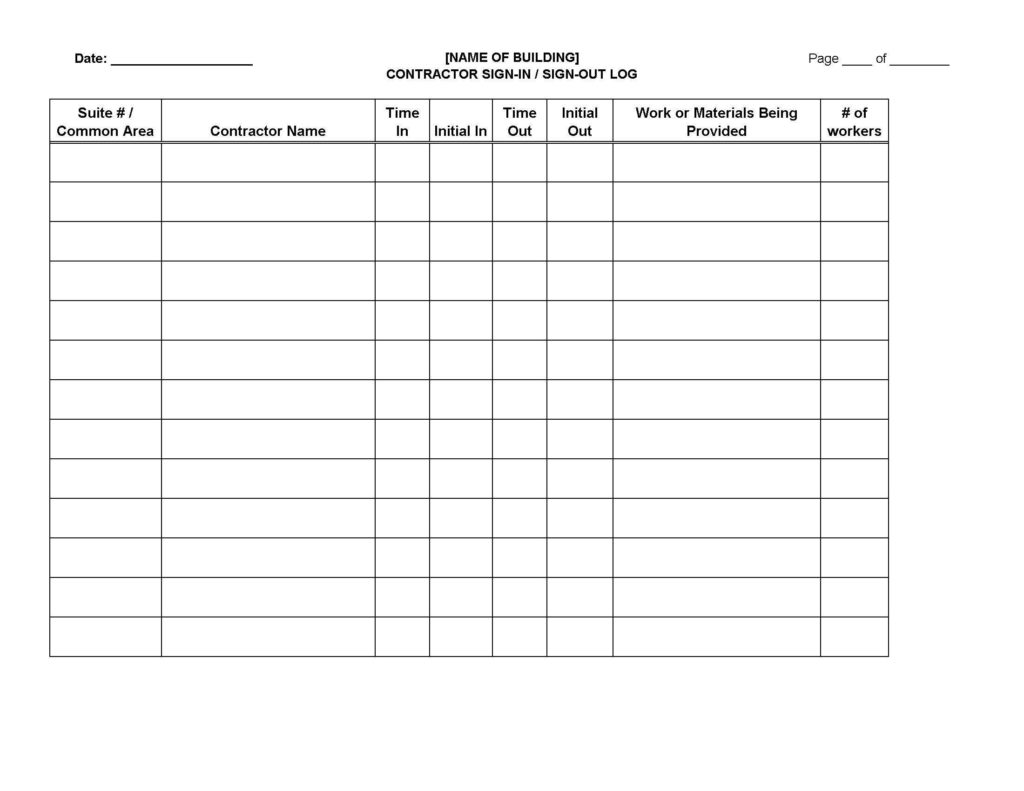 Dr Office Sign In Sheet Template and Contractor Sign In Sign Out Log Sheet Legal forms and Business