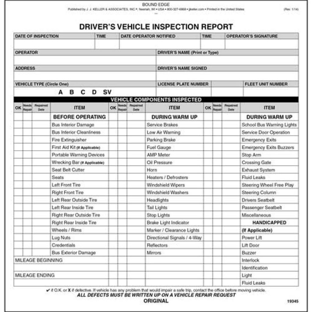 Driver Vehicle Inspection Report Template and New Jersey Bus Driver Vehicle Inspection Report Book format