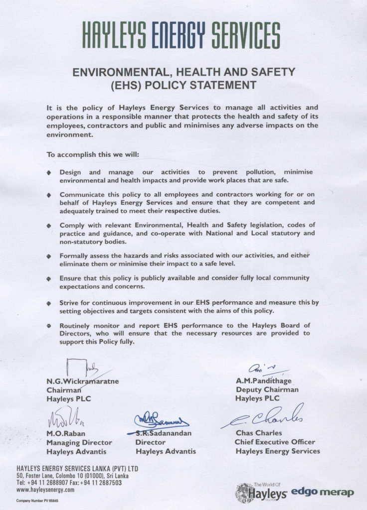 Ehs Policy Statement Example and Gridco Gridco Corporate Environmental Policy Statement Ffhdwall