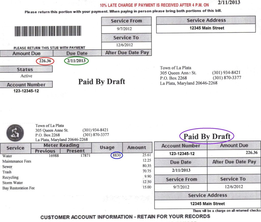 Electricity Bill Template and Your Utility Bill Official Website Of the town Of La Plata Maryland