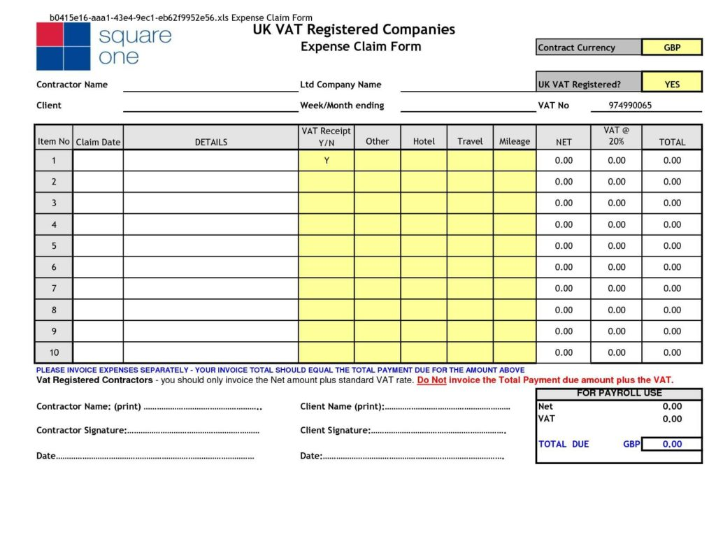 Employee Expense Reimbursement form Template and Expense Reimbursement form Excel It Resume Cover Letter Sample