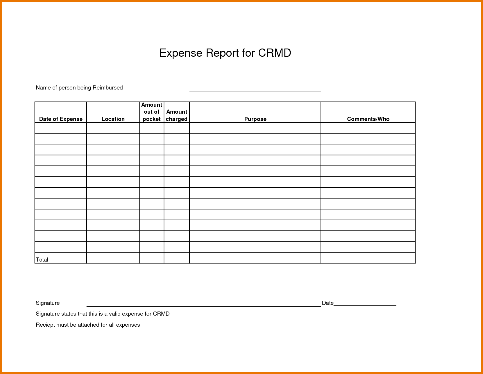 Employee Expense Report Template and Expense Report Templates Scope Of Work Template