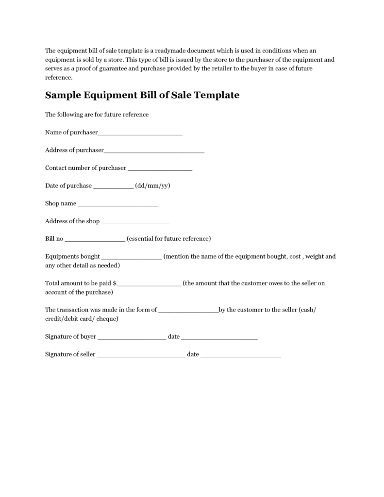 Equipment Bill Of Sale Template and Printable Sample Equipment Bill Of Sale Template form Laywers