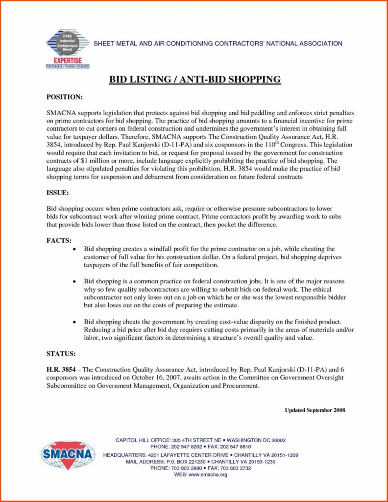 Estimate Template for Mac and Contractor Bid Sheet Template Contractor Bid Proposal forms