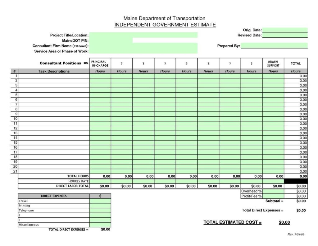 Estimating Spreadsheet Template and Building Construction Estimate Spreadsheet Excel