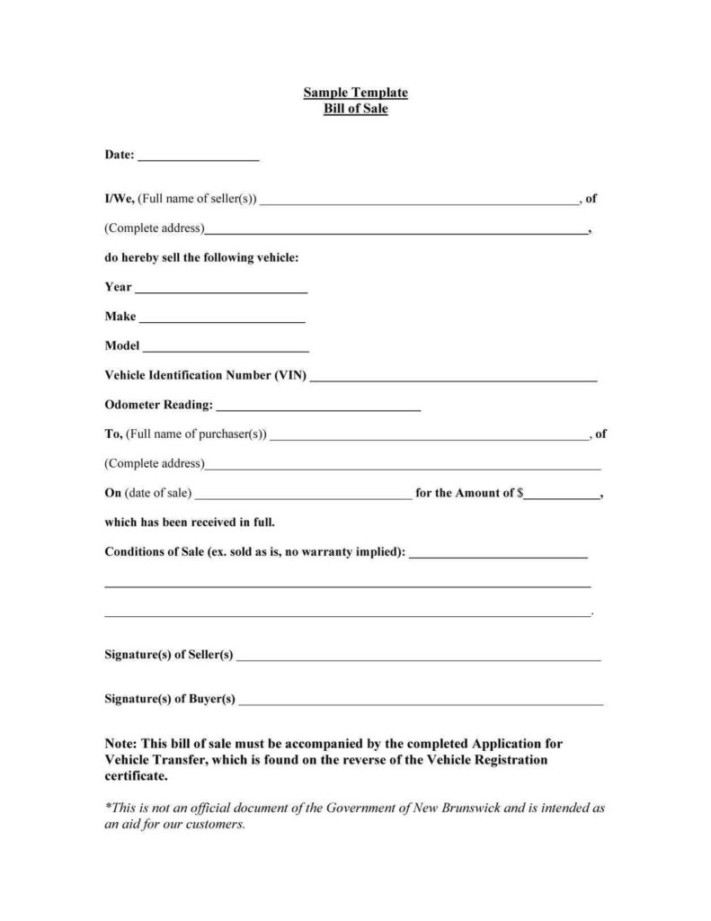 Example Of A Bill Of Sale for A Vehicle and 45 Fee Printable Bill Of Sale Templates Car Boat Gun Vehicle
