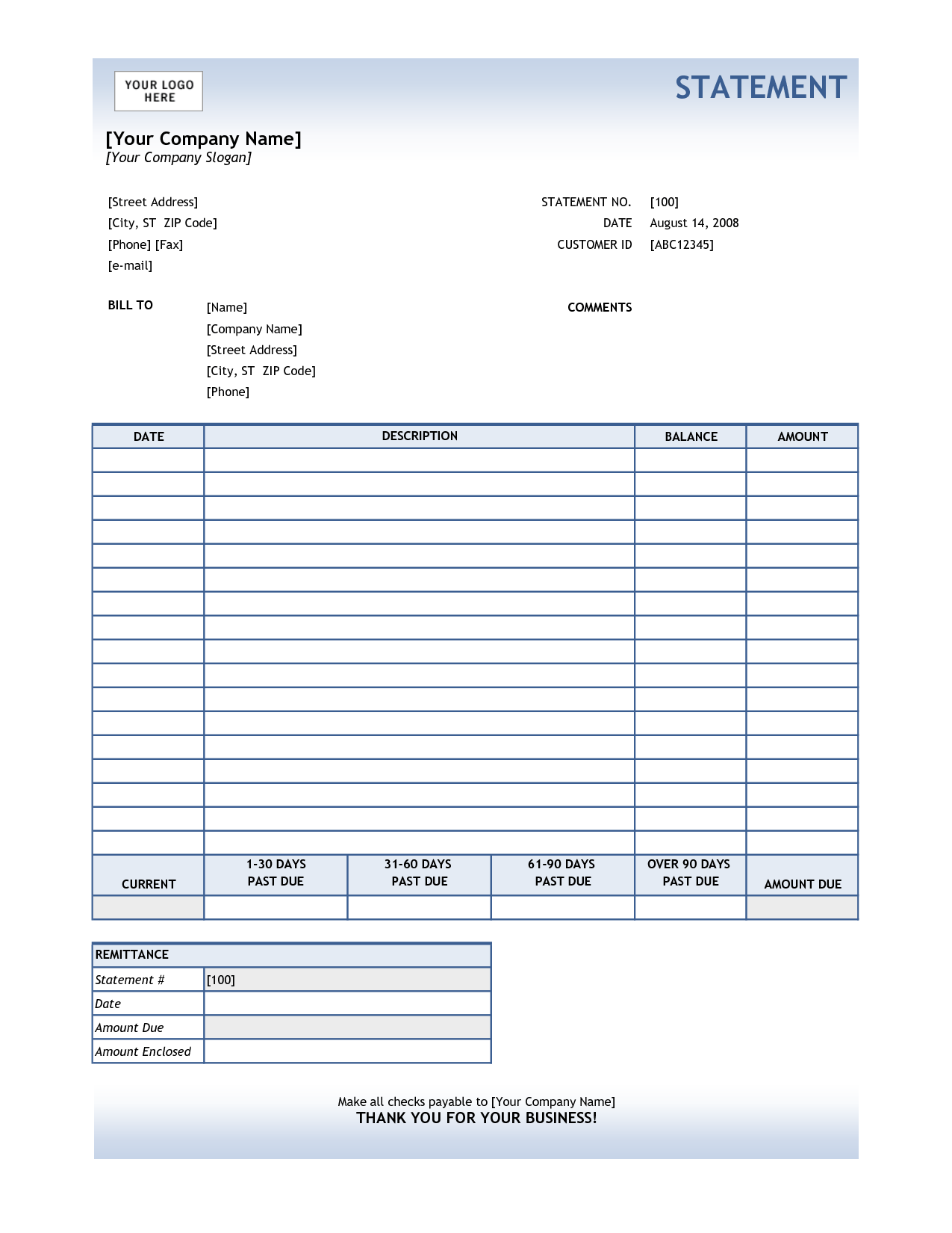 Example Of Billing Statement and Billing Statement Template with Blue Tables by Ronviers36 Helloalive