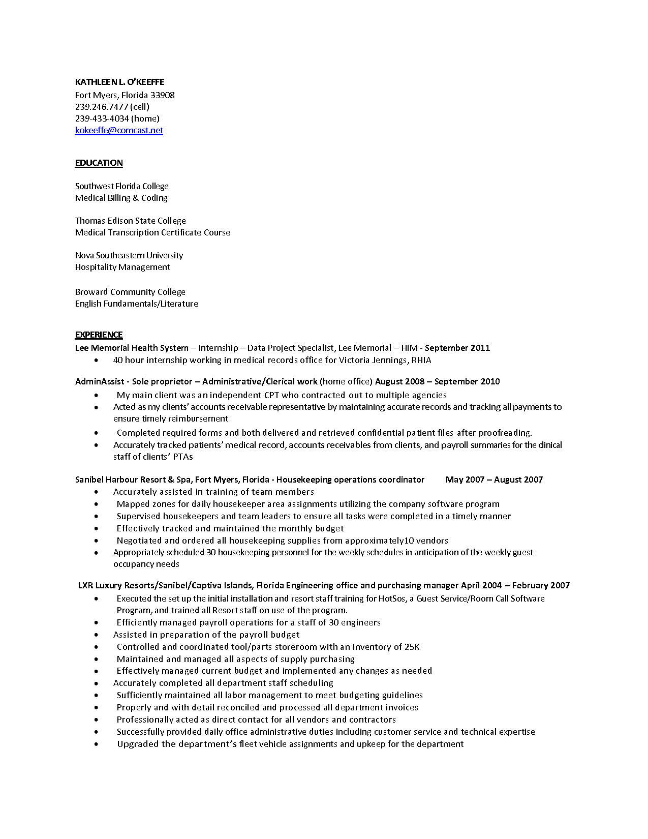 Example Of Medical Billing and Coding and Resume Templates Medical Records Specialist Resume Medical
