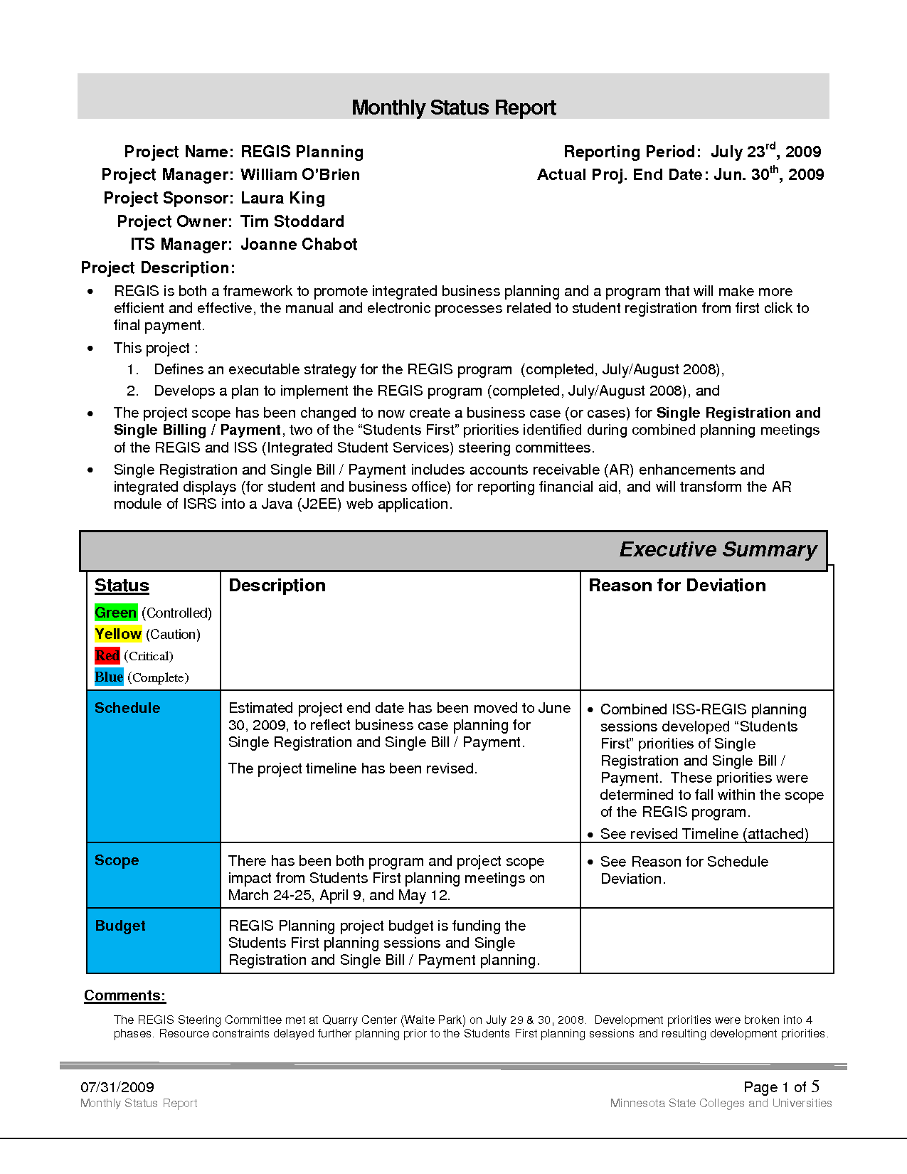 Example Of Project Status Report and Monthly Project Status Report Template Designed by Ohlhqdy0