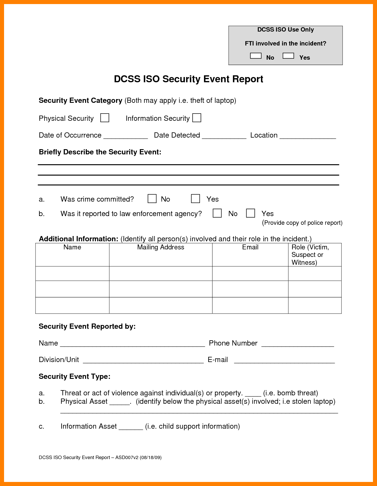 Security Guard Incident Report Example