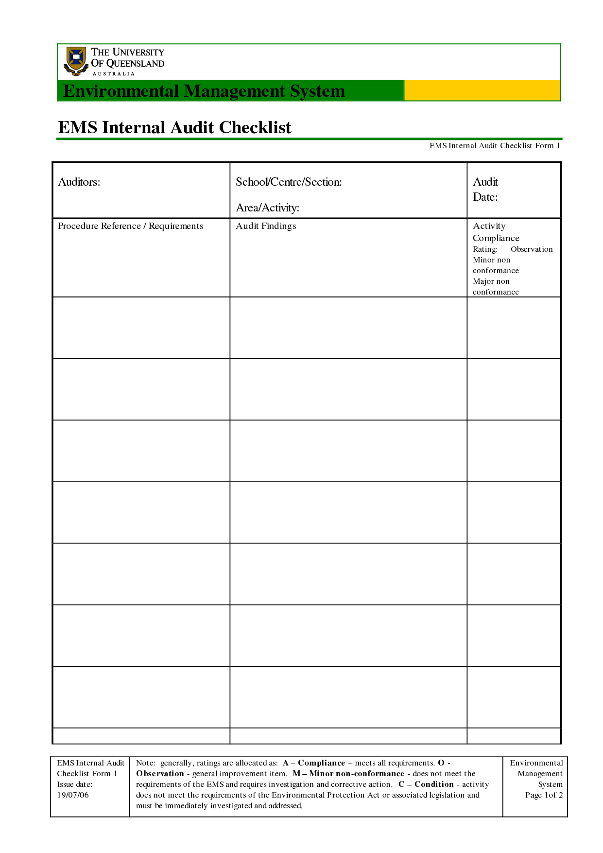 Example Safety Audit Report and Best Ems Internal Audit Checklist form Template with Table for