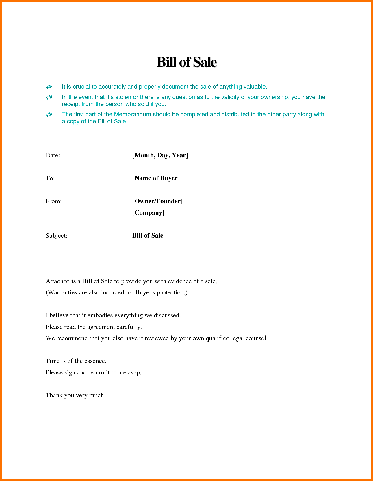 Examples Of Bill Of Sales and Bill Of Sale Template Word Example Masir