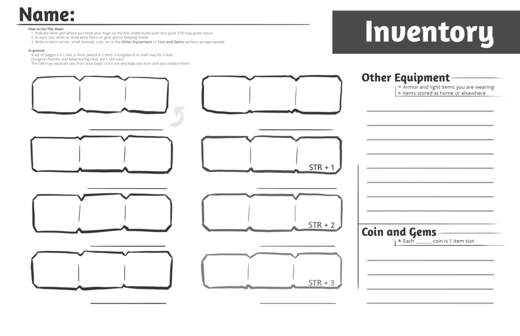 Examples Of Inventory Spreadsheets and Anti Hammerspace Inventory Tracking Sheets for Dungeon World