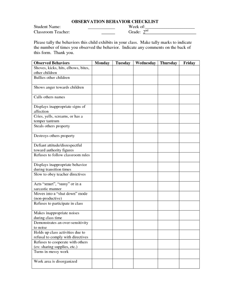Examples Of Teacher Observation Report and Ch 2 P38 Checklist This is A Behavior Observation Checklist where