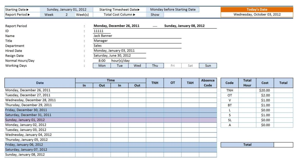 Examples Of Time Sheets and 12 Employee Tracking Templates Excel Pdf formats