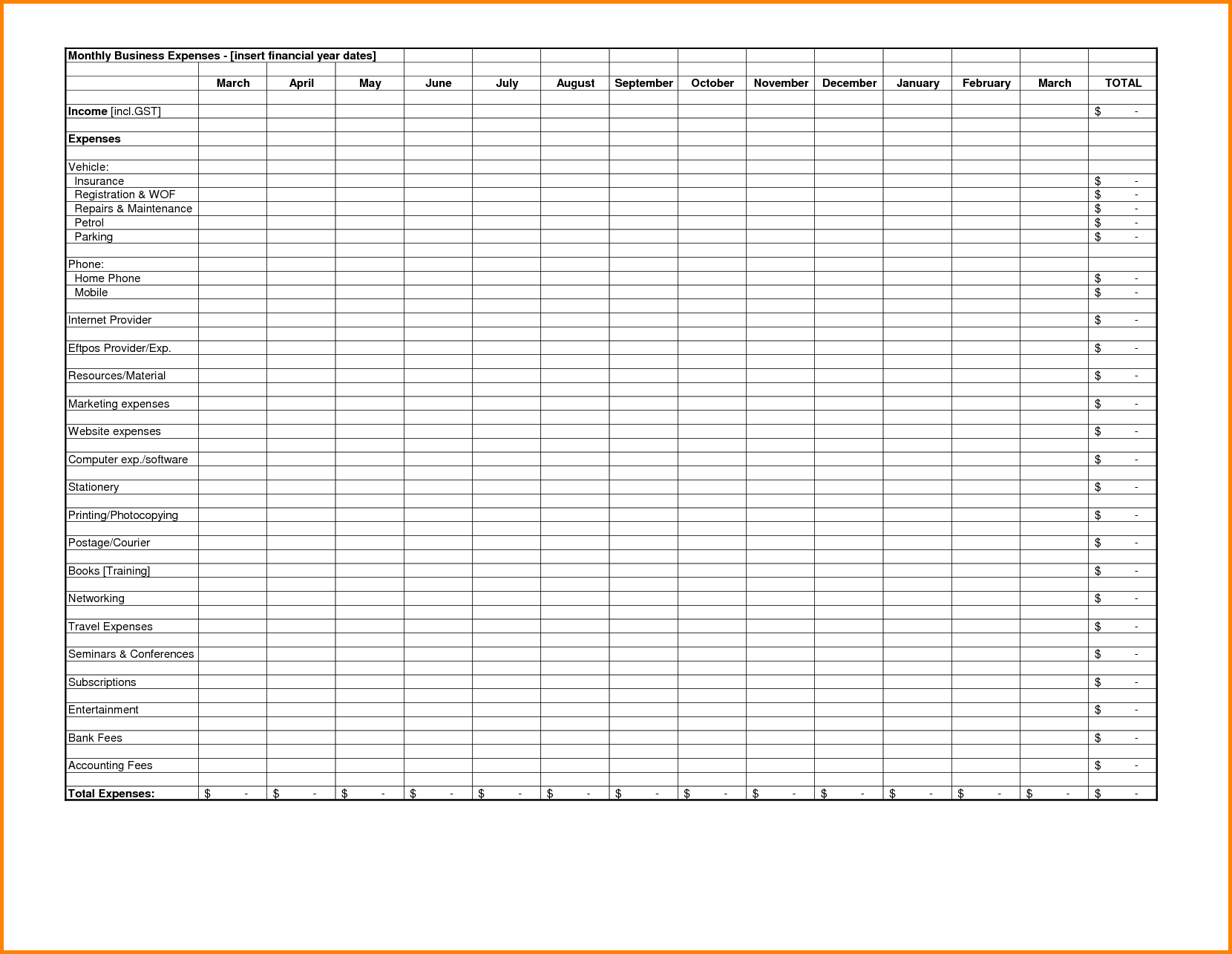 Excel Spreadsheet for Bills Template and Expense Reports Free Templates Excel Spreadsheet Template for