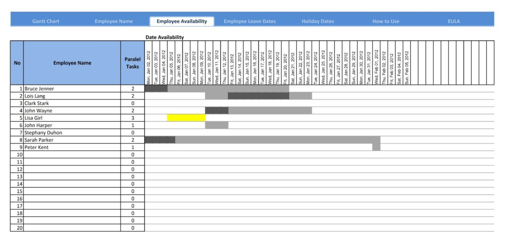 Excel Template Project Tracker and Basic Gantt Chart Template Virtren