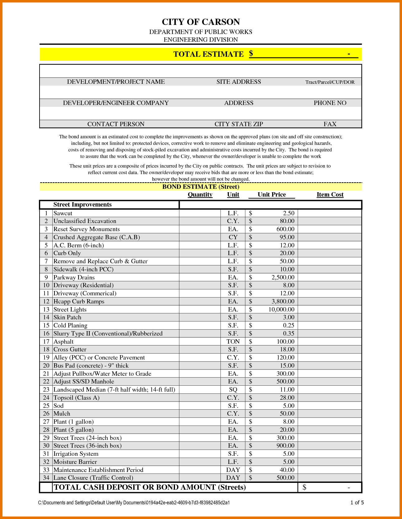 Excel Templates for Construction Estimating and 7 Construction Estimate Template Itinerary Template Sample