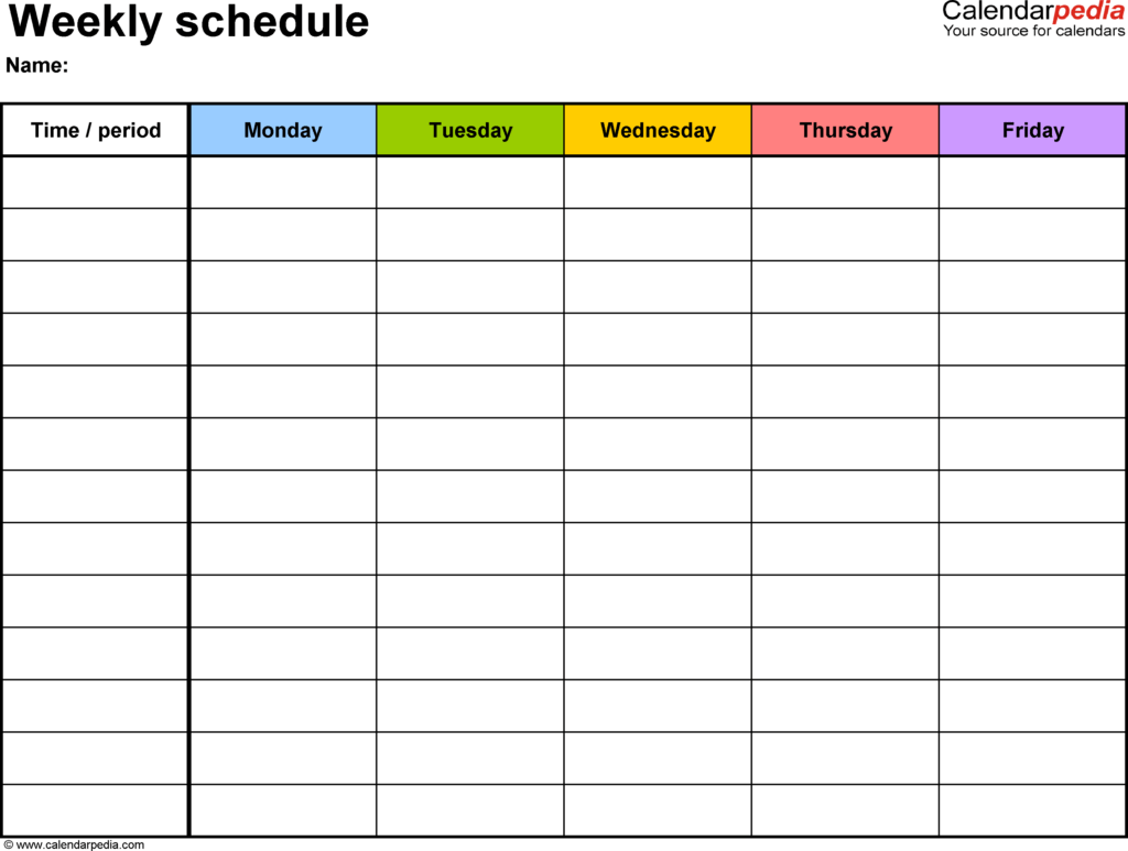 Excel Templates for Scheduling Employees and Free Weekly Schedule Templates for Excel 18 Templates
