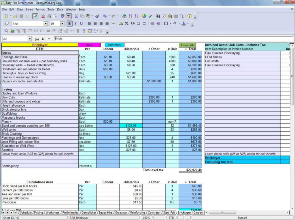 Excel Worksheet Samples and Construction Takeoff Excel Template and Take Off Sheet Template
