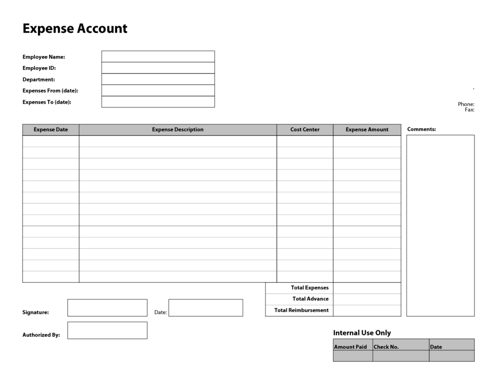 Expense Account Template and Free Printable Basic Expense Report Template Sample Helloalive