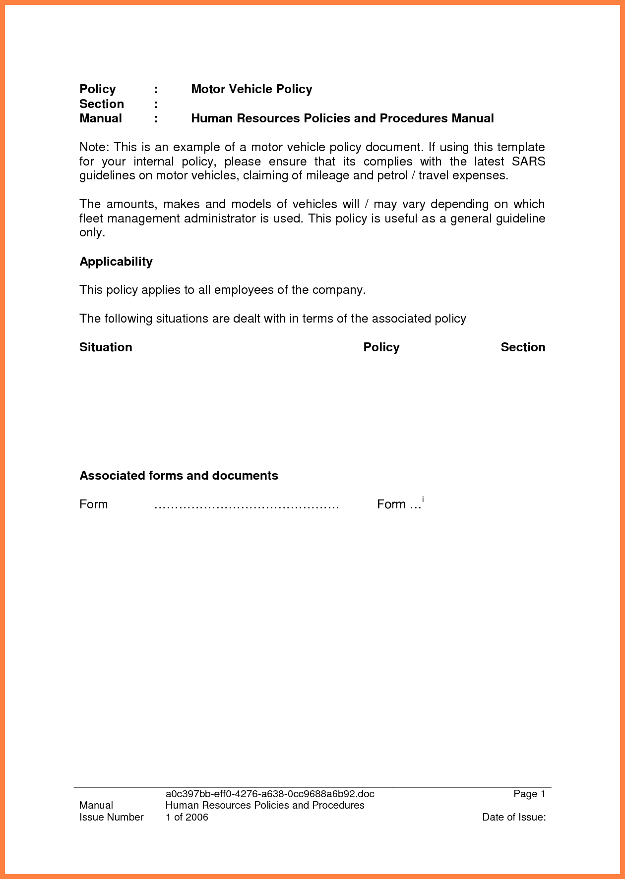 Expense Policy Sample and 3 Pany Car Policy Template Pany Letterhead